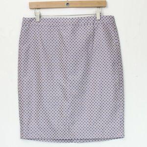 J. Crew Pencil Skirt sz 10 Blue Jacquard Dot NEW
